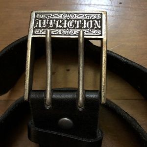 AFFLICTION LEATHER & BRASS TRINITY LTD EDT BELT Lg
